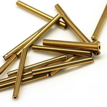 Canutillos de vidrio plateado, tubo, oro chapado, 12x2.5mm, agujero: 0.5 mm