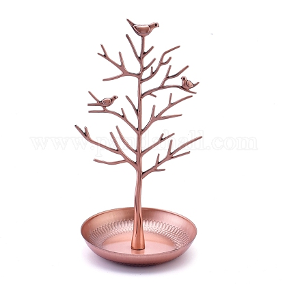 Alloy Birds Tree Jewelry Stand Display Rack, Holder, Iron Bottom, Hanging Necklaces Earrings Bracelets, Red Copper, 150x150x300mm EDIS-K002-11R