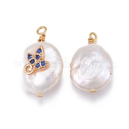 Colgantes naturales de perlas cultivadas de agua dulceX-PEAR-E013-18A-1