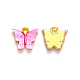 Alloy Pendants, with Resin and Glitter Powder, Butterfly, Golden, PearlPink, 13x13~15x3.5mm, Hole: 2mm