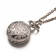 Alloy Flat Round with Spider Web Pendant Necklace Pocket WatchWACH-N013-03-3