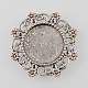 Tibetan Style Antique Silver Alloy Flower Tray Cabochon SettingsTIBE-M021-11AS-1