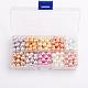 10 colores perlados ambiental cuentas de abalorios de cristal redondo, teñido, color mezclado, 8mm, agujero: 1 mm; 23 aproximamente PC / compartimento, 230 unidades / caja