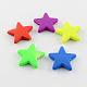 Perlas de acrílico fluorescentes, goma, estrella, color mezclado, 21x23x5mm, Agujero: 2 mm; aproximamente 510 unidades / 500 g