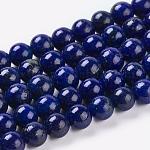 天然石ラピスラズリビーズ連売り, 染め, ラウンド, ブルー, 6mm, 穴:1mm、約32個/連, 7.6