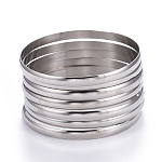 Fashion 304 Stainless Steel Bangle Sets, Stainless Steel Color, 2-5/8 inches(6.8cm); 7pcs/set