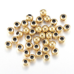Round Vacuum Plating 304 Stainless Steel Beads, Golden, 5mm, Hole: 2mm