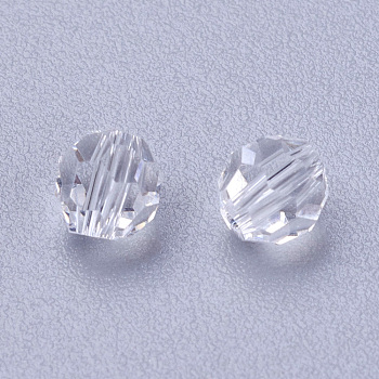 Clear Imitation Austrian Crystal Beads, Grade AAA, Faceted, Round, Clear, 4mm, Hole: 0.7~0.9mm