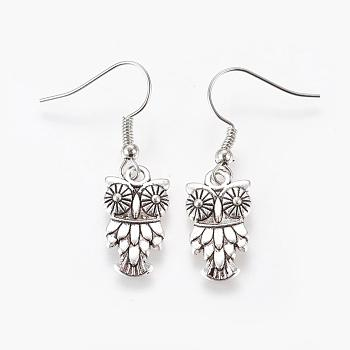 Fashion Halloween Tibetan Style Earrings, with Brass Earring Hooks, Antique Silver, 36mm