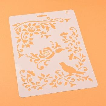 描画ツールプラスチック製図面型板テンプレート  長方形  鳥の模様  ホワイト  25.5x17.4x0.04cm