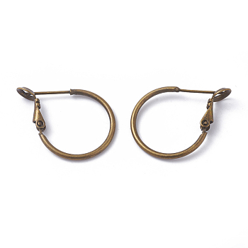 Brass Hoop Earring Findings, Ring, Antique Bronze, 20x1.5mm, Pin: 0.6mm