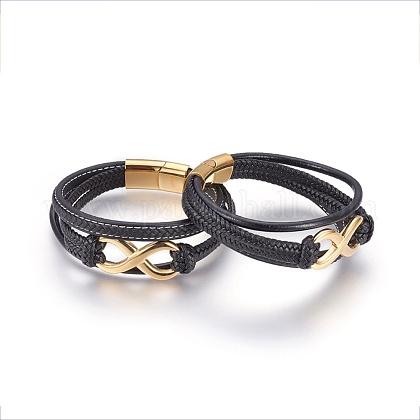 Cordón de cuero trenzado de pulseras de varias vueltasBJEW-F349-12G-01-1