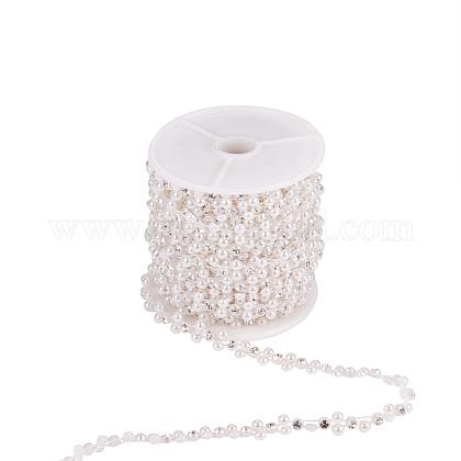 Flower ABS Plastic Imitation Pearl Beaded Trim Garland StrandsCHAC-R001-01-1