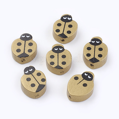 Spray Painted Natural Wood Beads WOOD-Q030-67G-1