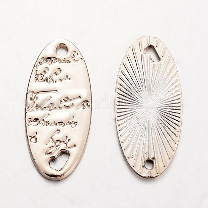 楕円形の合金リンクコネクター  ライトゴールド  25.5x12x1mm  穴:1.5mmPALLOY-O065-31G-AAA-1
