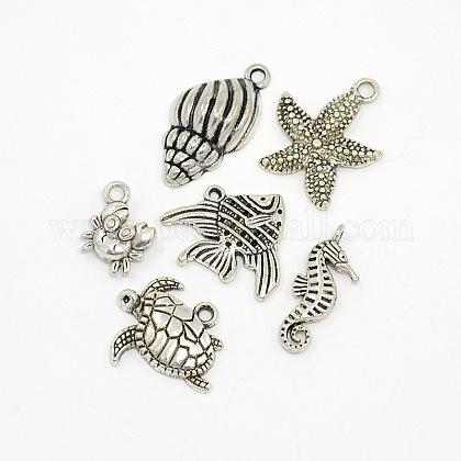 Antique Silver Mixed Ocean Tibetan Style Alloy PendantsTIBEP-X0033-NR-1