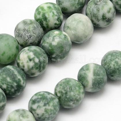 Brins de perles rondes en jaspe tache verte naturelleG-D678-12mm-1