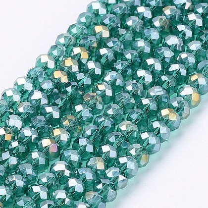 Electroplate Glass Beads Strands, AB Color Plated, Faceted, Flat Round, LightSea Green, 3.5~4x2.5~3mm; Hole: 0.5mm; 140pcs/strand, 15.5inches X-EGLA-R048-3mm-18