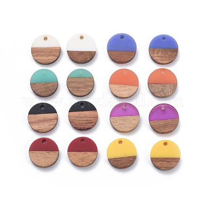 Colgantes de resina y madera de nogal de 8 coloresRESI-X0001-30A-1