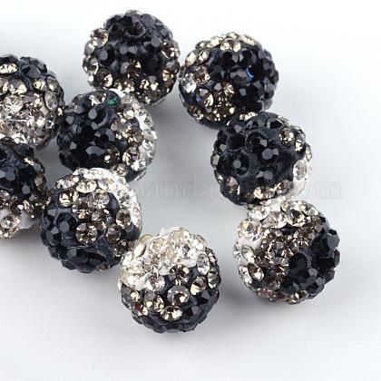 Abalorios de la bola de polímero coloreado a mano disco de la arcilla de dos tonosX-RB-R041-07-1
