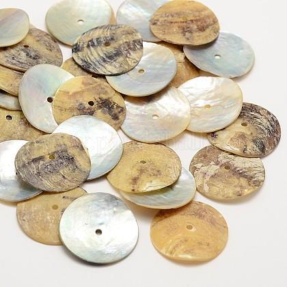 Flat Round Natural Akoya Shell BeadsSHEL-N034-08-1