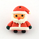 Handmade Christmas Santa Claus Polymer Clay Pendants, Red, 24x22x8mm, Hole: 1mm