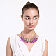 Collares de declaración de babero de imitación turquesa plásticoNJEW-BB31290-D-3