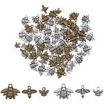 PandaHall Elite about 180pcs Honeybee Charms Pendants, 3 Style Antique Silver Bronze Bee Pendants Charms for Earring Bracelet Necklace Making