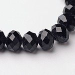 Faceted Black Glass Rondelle Beads Strands, Crystal Suncatcher, Beads: about 8mm in diameter, 6mm thick, hole: 1mm; about 68~70pcs/strand, 15