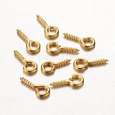 Iron Screw Eye Pin Peg Bails, For Half Drilled Beads, Golden, 8x4x1mm, Hole: 2mm