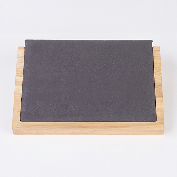 Black Wood Necklace Displays, with Faux Suede, Long Chain Display Stand, Rectangle, Black, 20.5x14.5x4.5cm