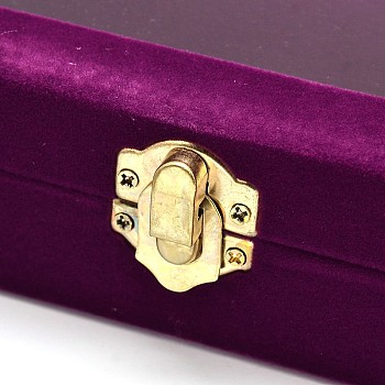 Purple Wooden Rectangle Jewelry Boxes, Covered with Velvet, with Glass and Iron Clasps, Purple, 20x15.7x4.7cm