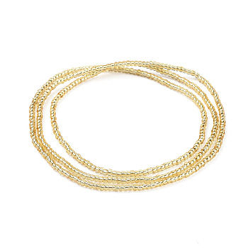 Gold Glass Seed Beads Chain Belts, with Korean Elastic Crystal Thread, for Waist Beads Body Jewelry, Beaded Necklace, Wrap Bracelet, Hair Decoration, Gold, 31.5 inches(80cm)