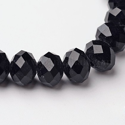 Faceted Black Glass Rondelle Beads StrandsX-GM8MMY-27-1