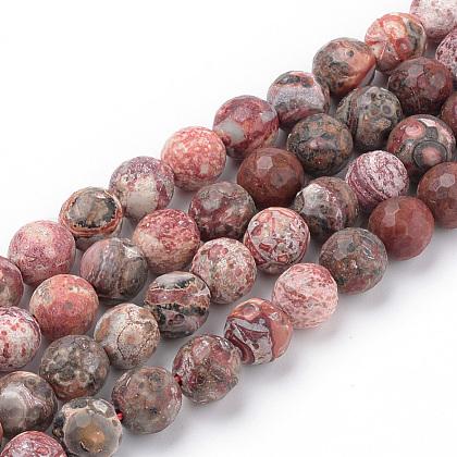 Natural Red Leopard Skin Jasper Beads StrandsG-Q462-88-8mm-1