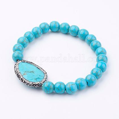 Synthetic Turquoise Beads Stretch BraceletsBJEW-L613-07B-1