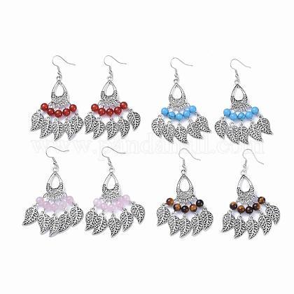 Tibetan Style Alloy Gemstone Chandelier EarringsEJEW-JE01367-1