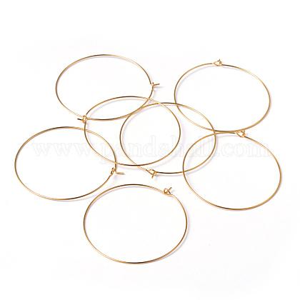 ジュエリーパーツ金色のメッキ真鍮ピアスフープX-EC067-6NFG-1