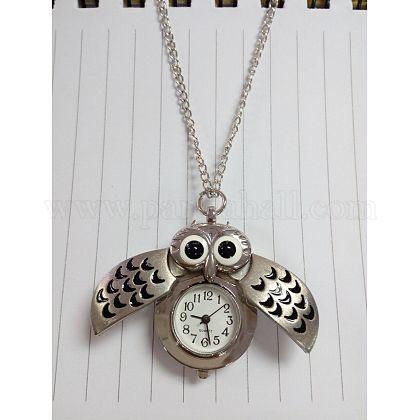 Cute Owl Alloy Quartz Pocket Watch Pendant NecklacesWACH-N006-01S-1