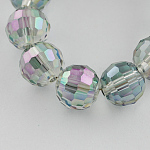 Electroplate Glass Bead Strands, Rainbow Color Plated, Faceted, Round, MediumOrchid, 6mm; Hole: 1mm, about 72pcs/strand, 15