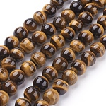 Natural Tiger Eye Beads Strands, Grade A, Dyed, Round, Goldenrod, 10mm