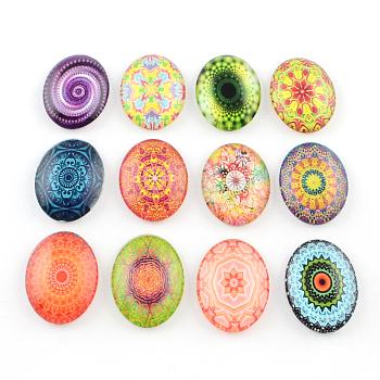 Cabochons ovales à dos plat avec motif de kaleidoscope fleur en verrre for DIY Projects, couleur mixte, 40x30x8mm