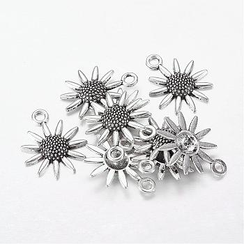 Lead Free and Cadmium Free! Tibetan Style Sunflower Pendant, Antique Silver, 22x18x3.50mm, Hole: 3mm