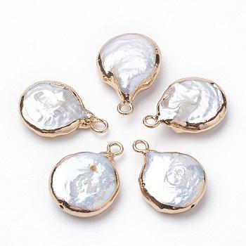 Colgantes de perlas keshi de perlas barrocas naturales electrochapadas, perla cultivada de agua dulce, con fornituras de hierro, plano y redondo, dorado, 16~22x13~16x4~8mm, agujero: 1.8 mm