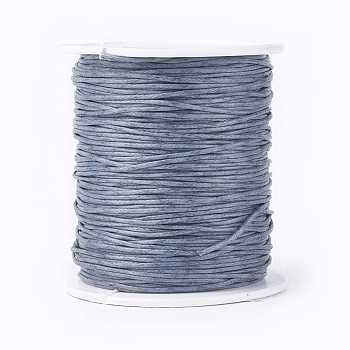Waxed Cotton Thread Cords, Gray, 1mm; about 100yards/roll(300 feet/roll)