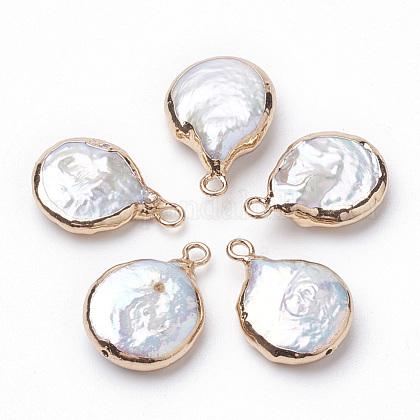 Colgantes de perlas keshi de perlas barrocas naturales electrochapadasPEAR-Q008-08G-1
