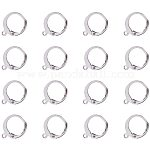 PandaHall Elite 50 pcs 304 Stainless Steel Lever Back Hoop Earring for DIY Jewelry Making, 14.5x12x2mm, Hole: 1mm Silver
