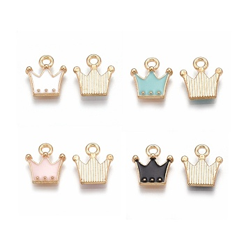 Charms in lega, con smalto, corona, oro chiaro, colore misto, 11.5x10.5x2mm, Foro: 1.5 mm