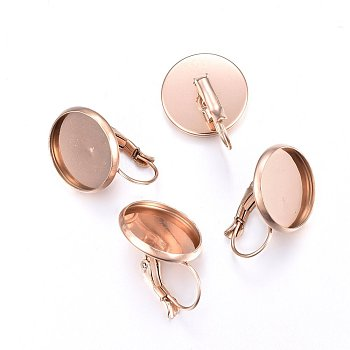 Vacuum Plating 304 Stainless Steel Leverback Earring Findings, Flat Round, Rose Gold, 22x16mm, Pin: 0.8mm, Tray: 14mm