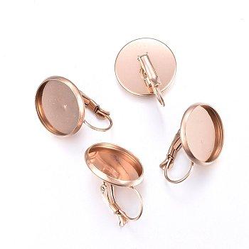 Enchapado al vacío 304 pendiente de palanca de acero inoxidable, plano y redondo, oro rosa, 22x16mm, pin: 0.8 mm, Bandeja: 14 mm